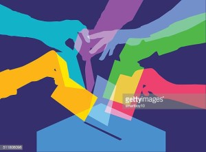 Colourful overlapping silhouettes of people voting. EPS10 file, best in RGB, CS5 versions in zip